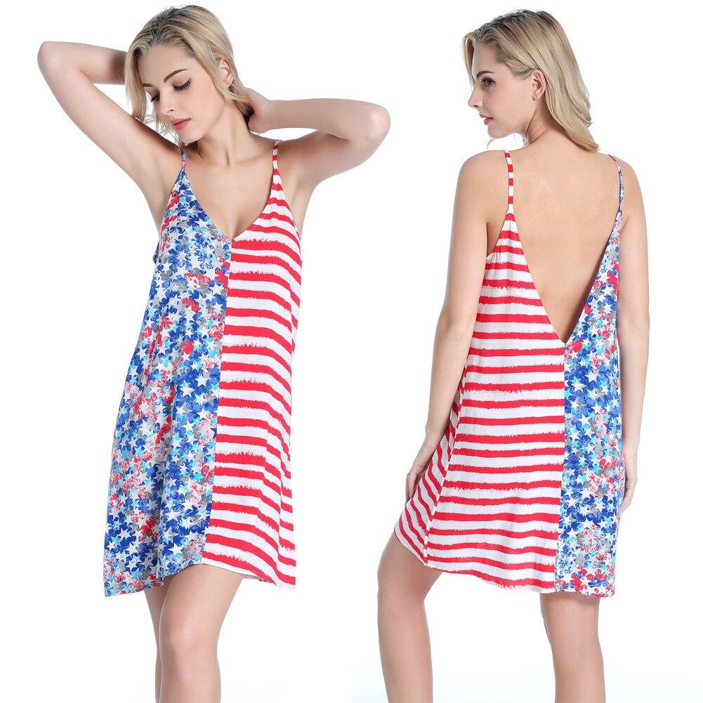 US Flag Style Summer Women Dress Sexy Sundresses Deep V Halter Floral Print US Flag Beach Dresses Casual Cotton Dresses