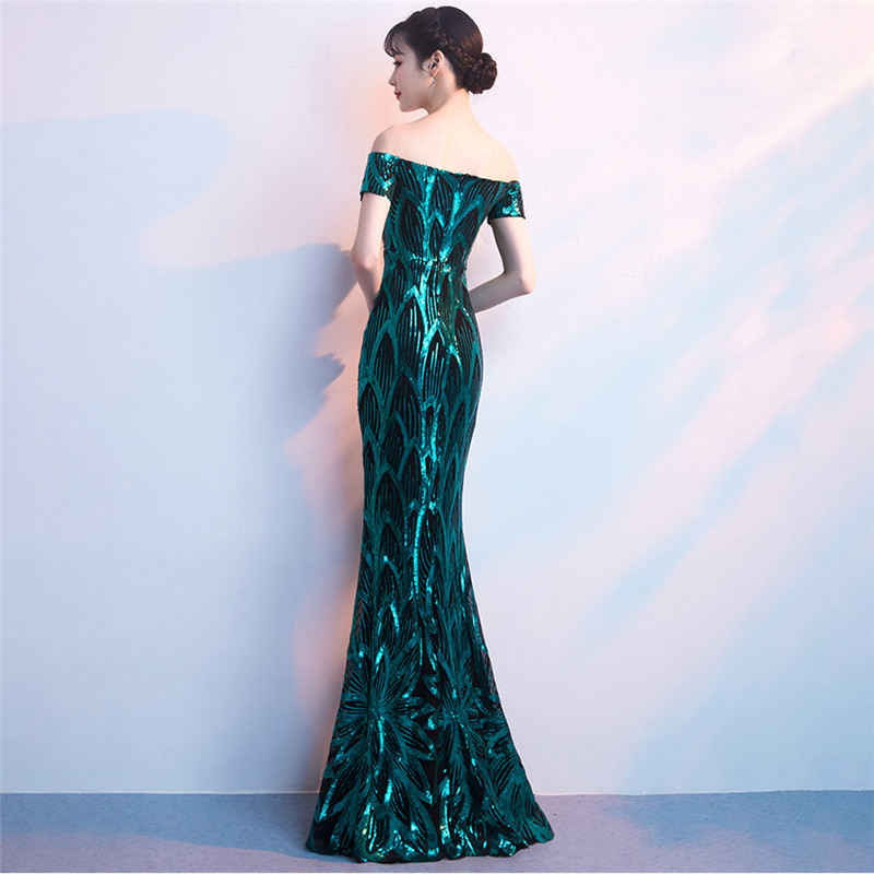 It's Yiiya Evening dress Sequined Zipper back Boat neck Mermaid Party Gowns Backless Floor-length Trumpet Prom dresses C137