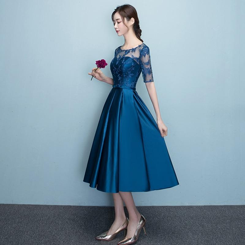 DongCMY New Arrival 2019 Short bule Color Prom dress Elegant Party Women Evening Dresses