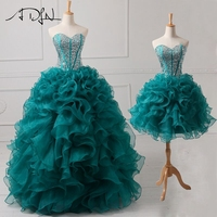 ADLN Real Sample Beaded Sweetheart Quinceanera Dresses 2 in 1 Detachable Sweet 16 Dress Ball Gown Designer Lace Up Back