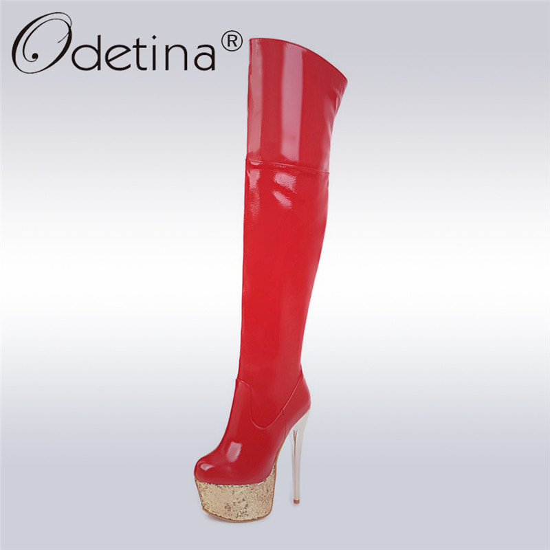 Odetina 2017 New Fashion Patent Leather Over The Knee Boots Extreme High Heels Platform Thigh High Party Boots Sexy Winter Shoes ppnu woman winter nubuck genuine leather over the knee snow boots women fashion womens suede thigh high boots ladies shoes flats