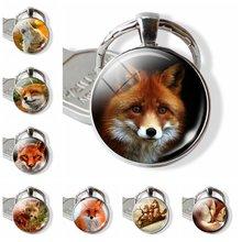 Милый изображение лисы стеклянный брелок с кабошоном в виде