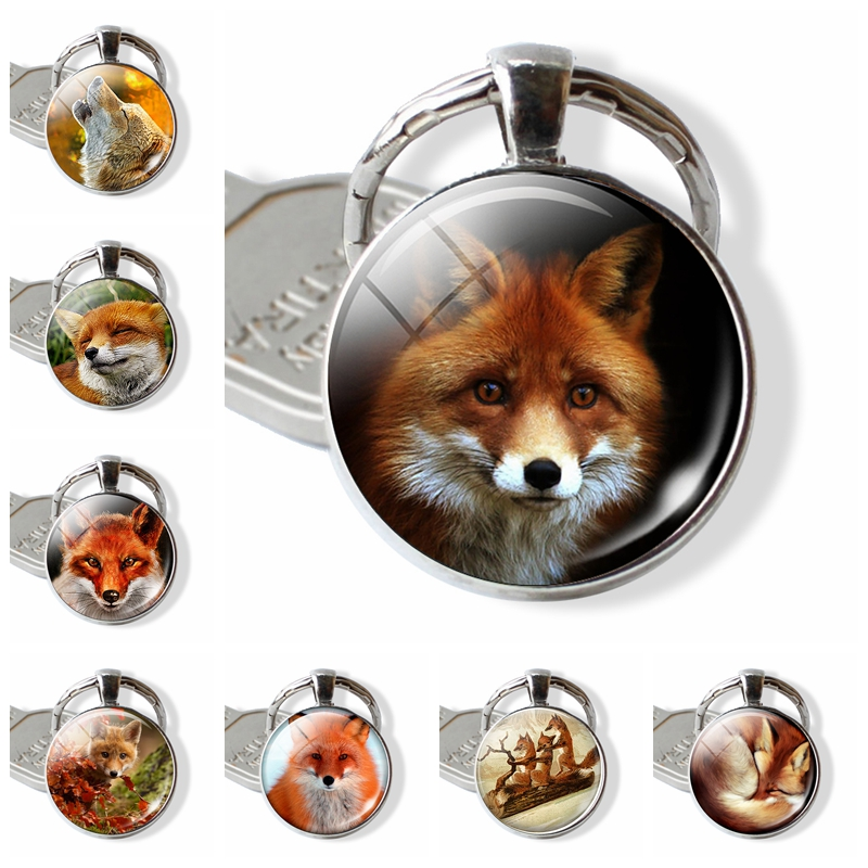 Lovely Fox Picture Glass Cabochon Keychain Animal Pendant Metal Key Rings Christmas Gifts For Kids Dropshipping