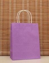 40PCS Romântico roxo cor kraft saco de papel com alças 21x15x8 Lojas centímetros Festival presentes saco alta Qualidade Frete grátis