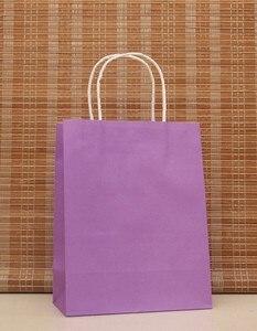 Image 1 - 40PCS Romantic purple color kraft  paper bag with handles 21x15x8cm Shops Festival gifts bag High Quality Free shipping