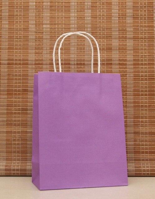 40PCS Romantic purple color kraft  paper bag with handles 21x15x8cm Shops Festival gifts bag High Quality Free shipping