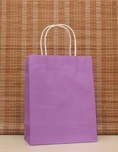 40PCS Romantische lila farbe kraft papier tasche mit griffen 21x15x8cm Geschäfte Festival geschenke tasche hohe Qualität Freies verschiffen