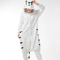 Winter Hooded White Tiger Pink Striped Unicorn Pajama Sets Cute Animal Pyjamas Women Flannel Long Sleeve