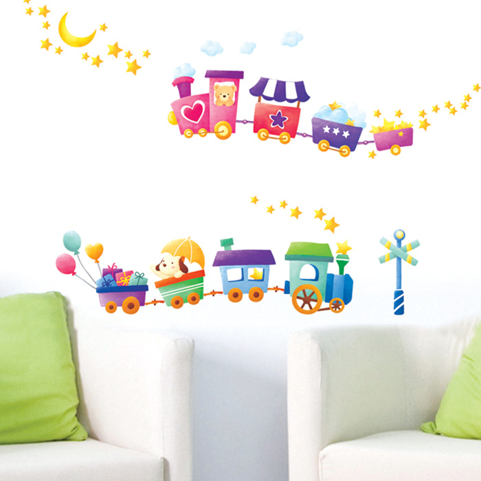Baby baby cartoon childrens room wall stickers preschool train green decorative wall stickers in wall stickers from home garden on aliexpress com