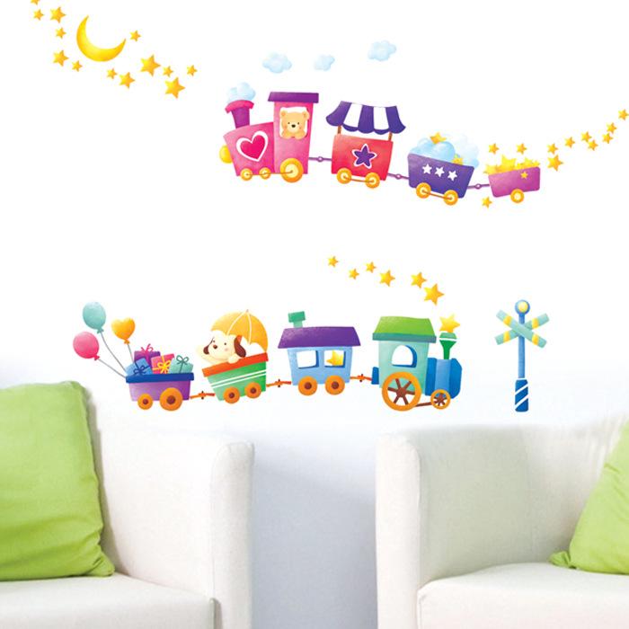 beb beb de la historieta sala pegatinas de pared infantiles preescolar tren verde pegatinas de pared