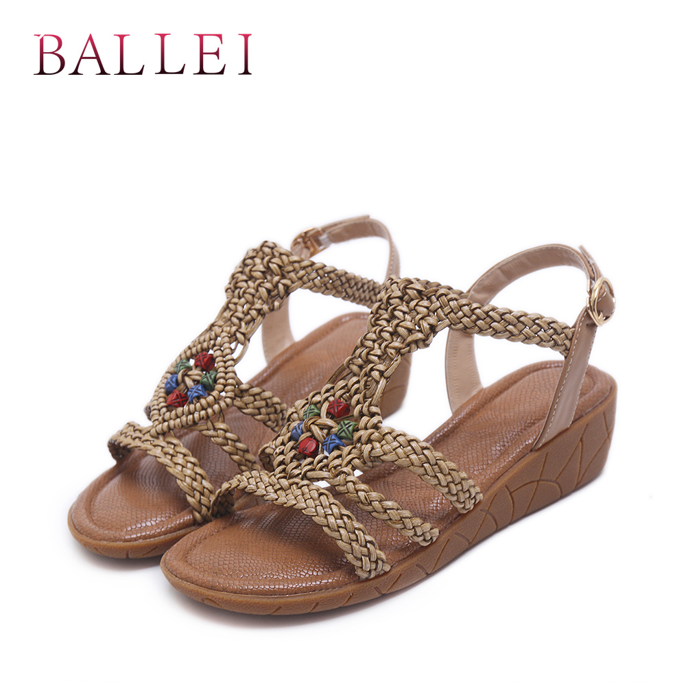 BALLE National Style Woman Summer Sandals Vintage PU Comfortable Wedges Fashion Back Strap Shoes Classic Casual Retro Sandal S23