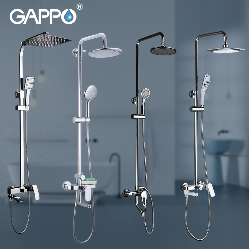 GAPPO Shower System Bathroom Shower Set Faucet Taps Bath Mixer Bathtub Faucet Set Waterfall Shower Set Chrome Rain Shower Head