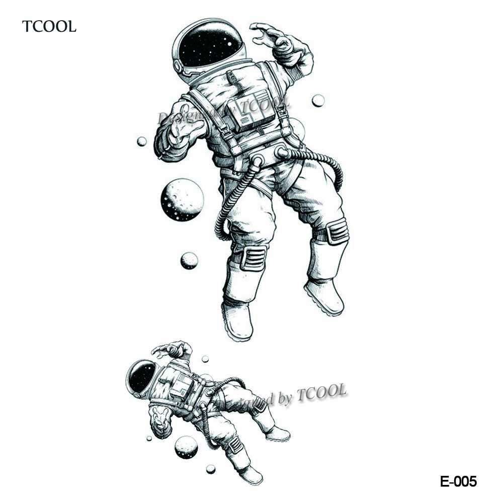 HXMAN Astronaut Temporary Fake Tattoo Body Art Sticker Rocket Waterproof Hand Tattoo Sticker For Kids 9.8X6cm Hot Design E-005