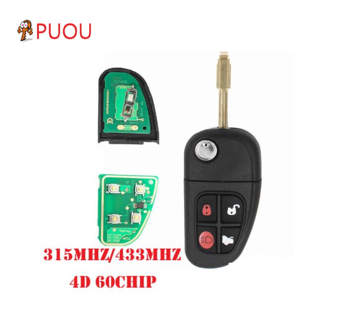 4B Remote Key Fob For Jaguar 02-08 X Type S Type XJ 433MHz With 4D60 Chip