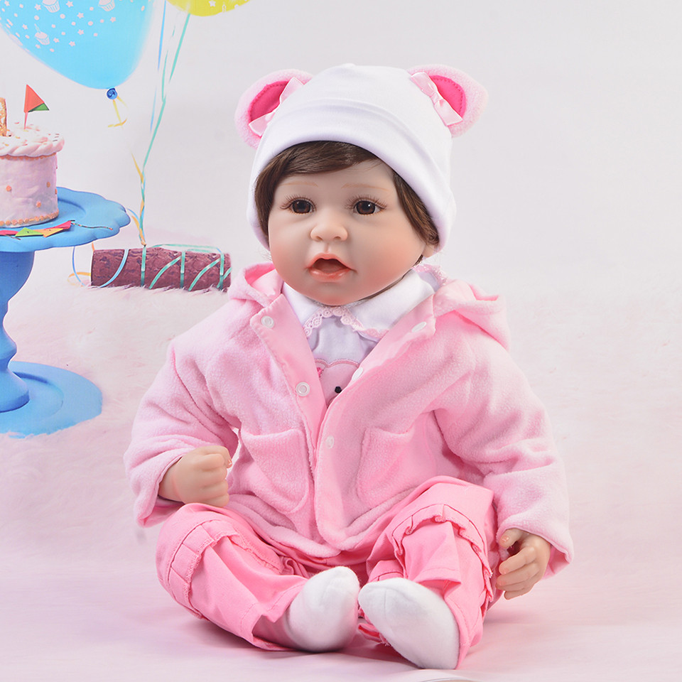 Cute 22 inch Silicone Doll Baby DIY Toy For Grils Fashion 55 cm Silicone Reborn Baby Doll Realistic Newborn Boneca Birthday Gift cute truly newborn doll 23 inch fashion baby toy realistic full vinyl silicone babies doll handmade gift for girl reborn boneca