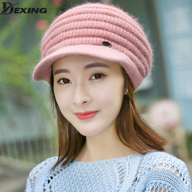 2017 Winter outdoor Women Luxury Rabbit knitted beanies Hat Female Soft high quality Warm wool Caps Girl Solid Color ski hats fibonacci winter hat knitted wool beanies skullies casual outdoor ski caps high quality thick solid warm hats for women