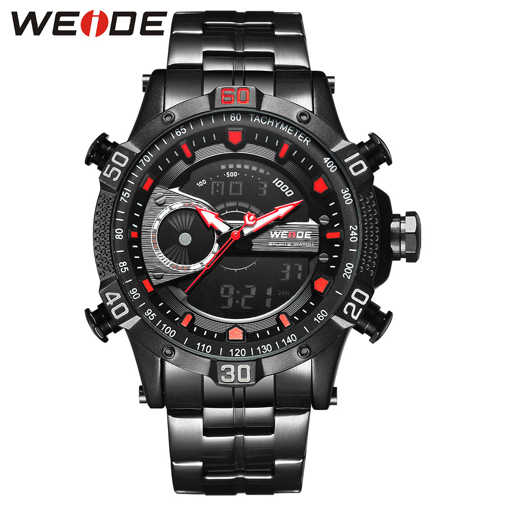 WEIDE Luxury Watch Sport Men Digital Stainless Steelin Quartz LCD Watches Water Resistant Electronics Alarm Clock Steampunk saat weide luxury brand quartz sport relogio digital masculino watch stainless steel analog men automatic alarm clock water resistant