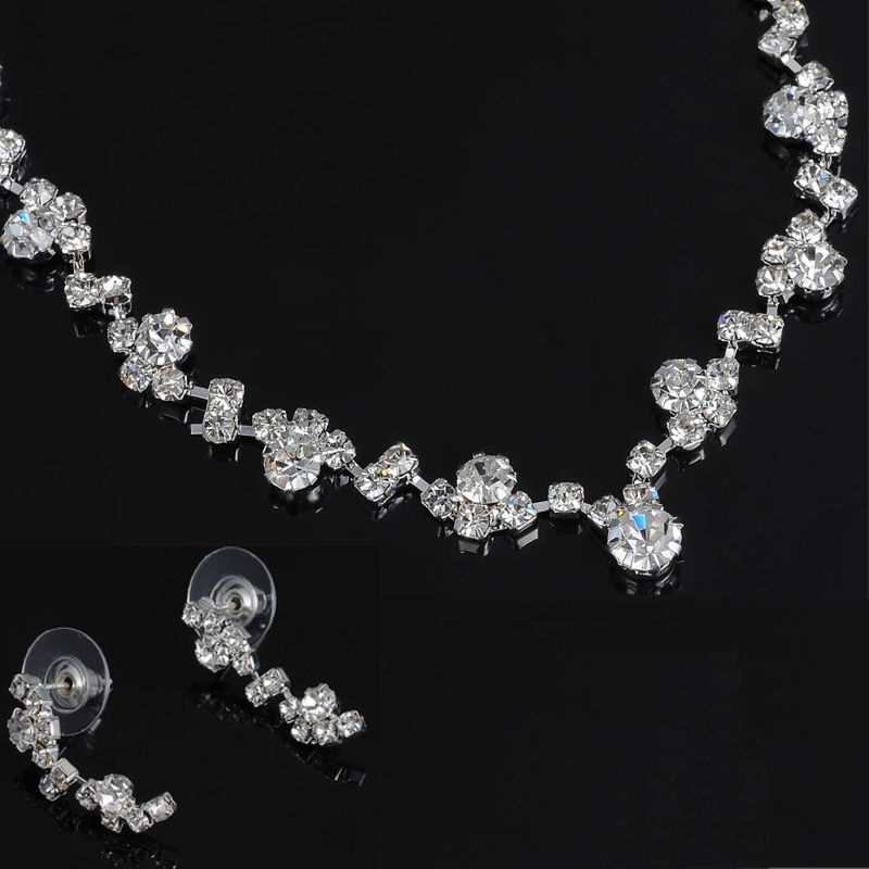 Fashion Silver Tone Crystal Tennis Choker Necklace Set Earrings Factory Price Wedding Bridal Bridesmaid African Jewelry Sets 6