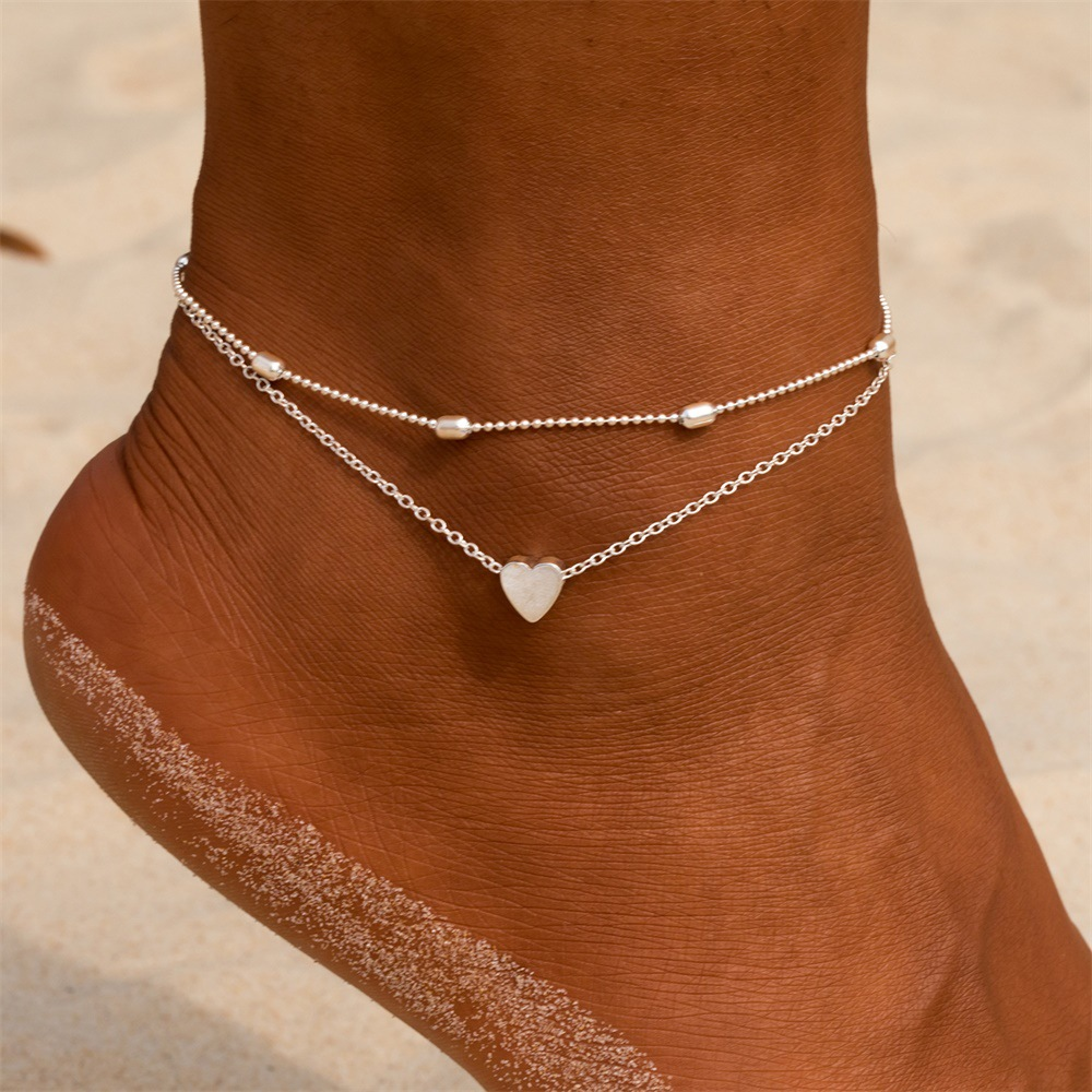 Women Anklets Heart Barefoot Crochet Sandals Foot Jewelry Two Layer Foot Legs Bracelet Anklets