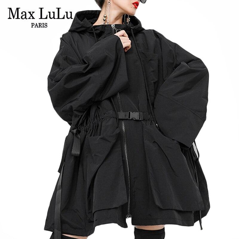 Max LuLu 2019 Fashion Korean Autumn Ladies Loose Streetwear Womens Long Hooded Trench Coat Oversized Windbreaker Casual Clothes