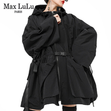 Max LuLu 2019 Fashion Korean Autumn Ladies Loose Streetwear Womens Long Hooded Trench