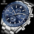 BENYAR Herren Uhr Geschäfts Voller Stahl Quarzuhr Männer Top Marke Luxus Casual Wasserdichte Sport Uhren Uhr Relogio Masculino-in Quarz-Uhren aus Uhren bei