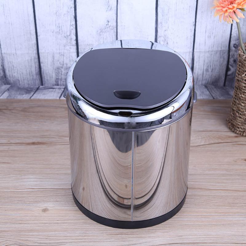 6L Wireless Automatic Sensor Dustbin Stainless Steel Rubbish Waste Bin Battery Powered Trash Can Smart Home Office Use Ash-bin