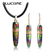 Blucome Colorful Pen Shape Necklace Earrings Set Rope Chain Pendant Long Drop Earrings Women Girls Enamel Jewelry Sets Bijoux(China)