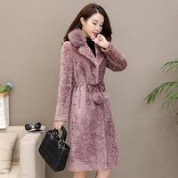 Winter new women's coat sheep sheared parkas female real fox fur collar slim fur coat thicken warm slim outwear L1571 with belt