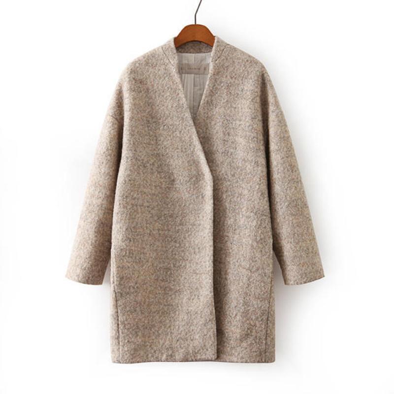 Novo 2017 Inverno/Outono casual mulheres Wool & Blends brasão outwear moda casaco feminino casaco feminino