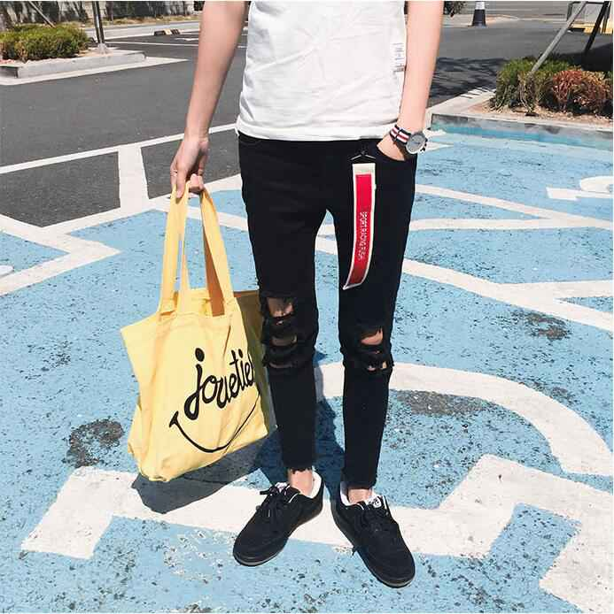 #1926 Destroyed jeans men Slim fit Male ripped jeans Fashion slim fit Black ripped jeans Vaqueros hombre Mens designer clothes