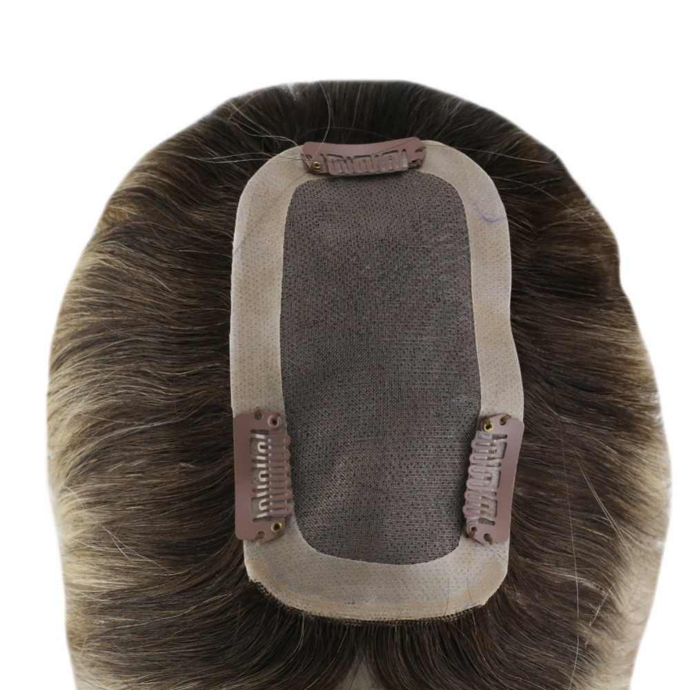 Brillo total 20-40g Color #3/8/22 corona de pelo Remy Topper 12*6cm corona para mujer Mono Toppers con tupé para adelgazar el cabello