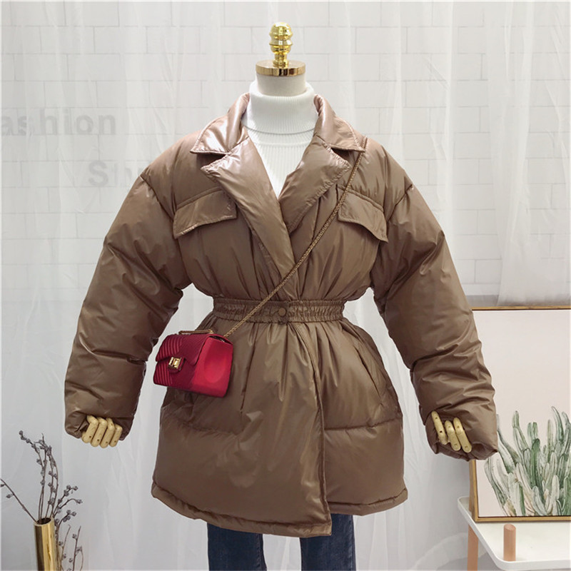 Women Winter Chic Coats Korean New Fashion Warm Puffer Long Thick Cotton Coat Slim Wide-Waist Female Jackets Belt Fluffy   Parkas