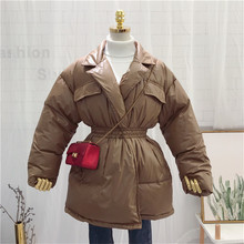 Women Winter Chic Coats Korean New Fashion Warm Puffer Long Thick Cotton Coat font b Slim