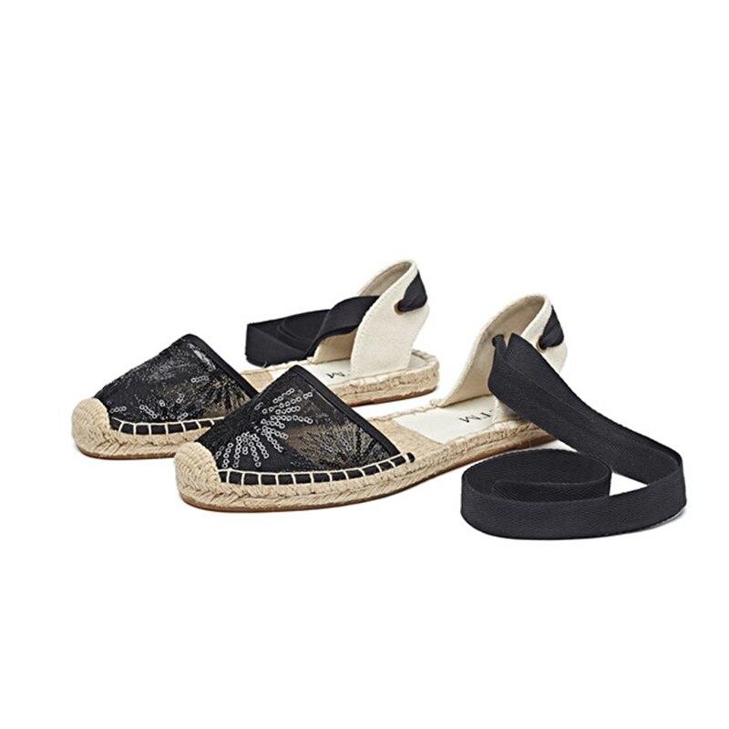 Sandales Casual silver Rond Bout Lacent D'été Black Chaussures Dames Paillette gold Respirant Plat Espadrilles Femmes Paillette Paillette xwqZRR