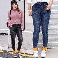 Plus Size Women Trousers Fashion Winter Warmer Fleece Calf Embroidery Casual Women Trousers 0020