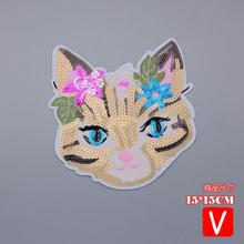 embroidery big sequins cats patches for jackets,flowers badges jeans,cartoon appliques  A619