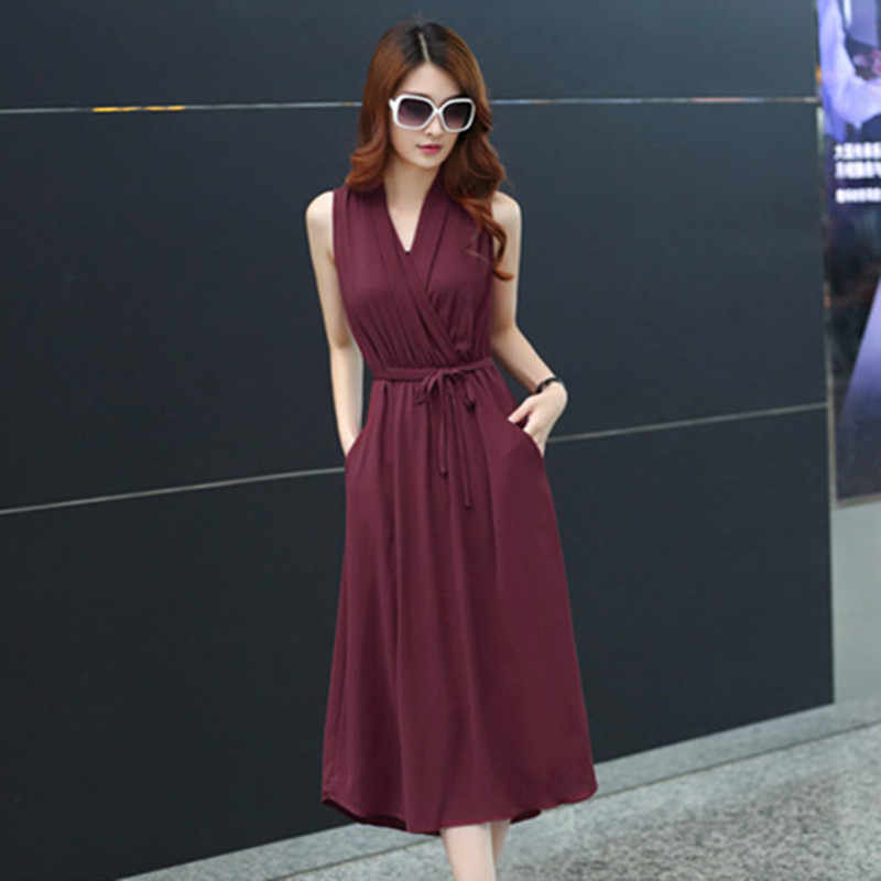 2018 Summer New Women's Large Size Slim Was Thin Temperament  V-Neck Chiffon Dress C99