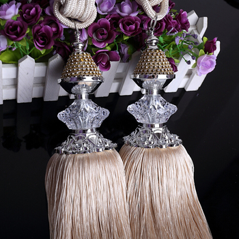 A Pair of European-style Crystal Curtain Bandage Curtain Buckle Ball Bundle Cord Curtain Accessories Fringe Hook Ties
