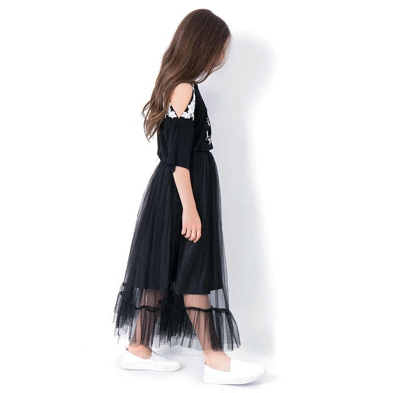 737254fc3a871 Teen Girls Clothing Sets Half Sleeve Summer Girls Clothes 2pcs Off shoulder  Tops Black Mesh Skirts 6 8 10 12 14 Years Kid Sets