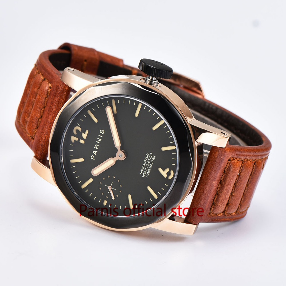 Hot Sale Men Watch Hand Wind Movement Mechanical Parnis 43mm Menchanical Watches SeaGull 3600 Watches Gold Case Luminous Numbers накидной прямой ключ king tony 13х15 мм 19b01315