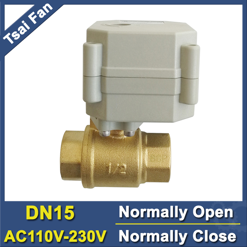 High Quality BSP/NPT 1/2'' (DN15) Brass Normal Open/Close Valve TF15-B2-C AC110V-230V 2 or 5 Wires For HVAC Water Application tf15 s2 b dn15 stainless steel normal close open valve 2 5 wires bsp npt 1 2 ac dc9v 24v electric water valve