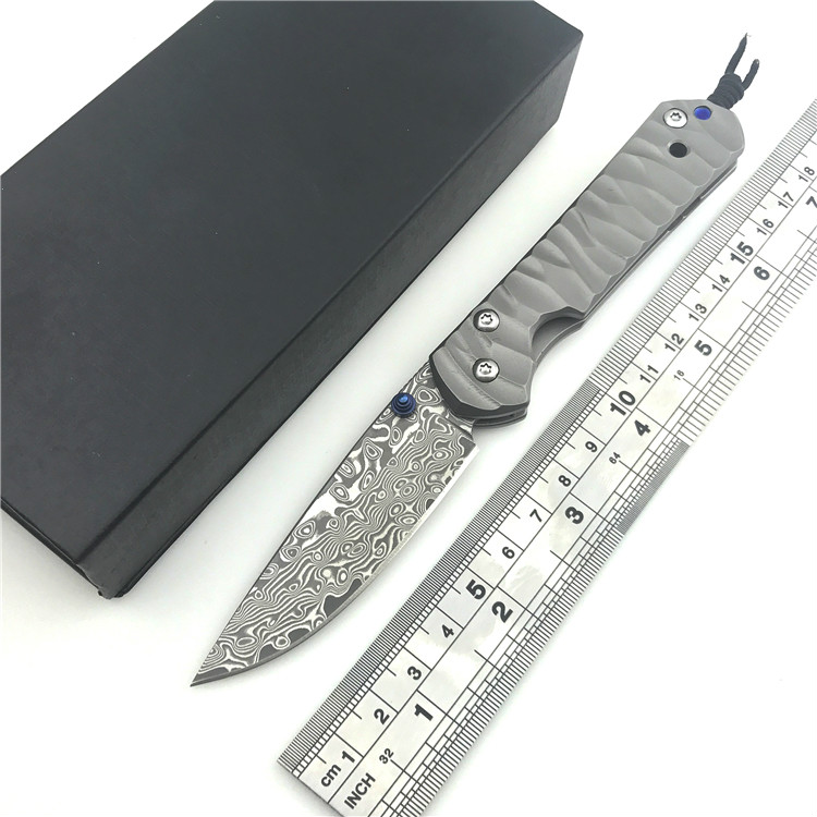 High quality bearing TC4 Titanium handle Damascus blade knife hunting camping outdoor self-defense tactical army Survival knife hx small mercenary survival hunting knife d2 steel blade fixed blade knife straight camping knives multi tactical hand tools