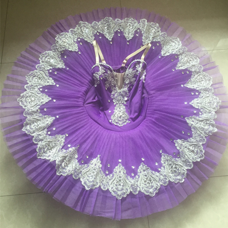 Child Professional Ballet Tutu Purple Yellow with trim Women Ballet Stage Costumes Pancake Tutu