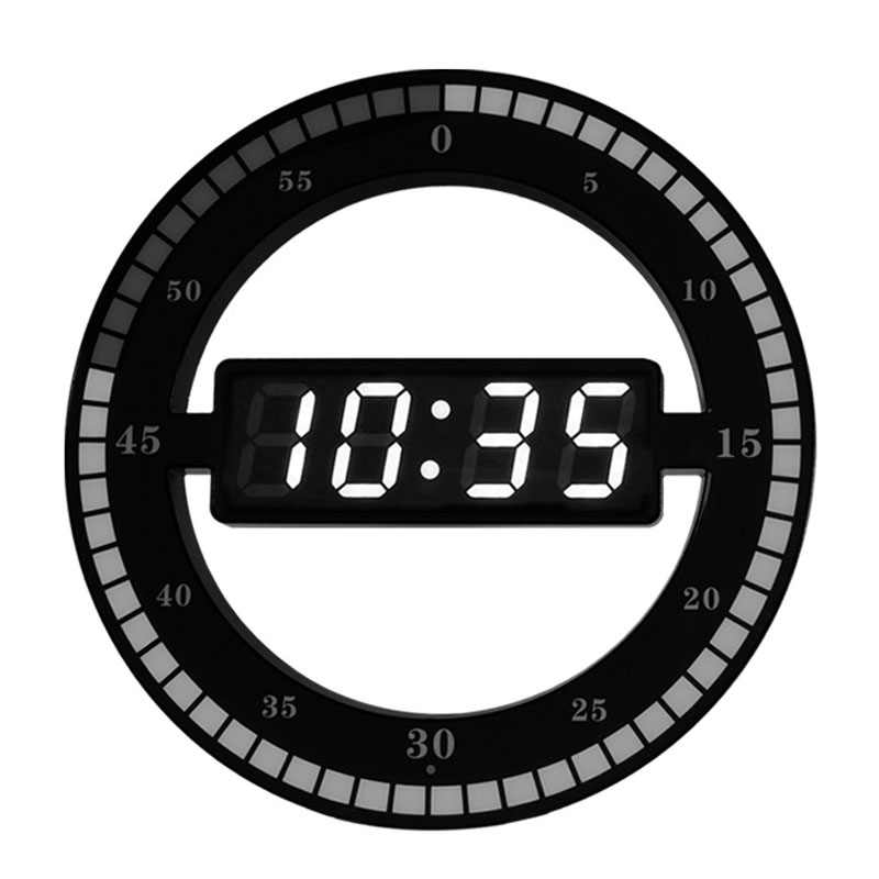Creative Digital Metal Wall Clock Modern Design for Living Room Clocks with USB Port LED Wall Watch Silent Home Decor 12 inch