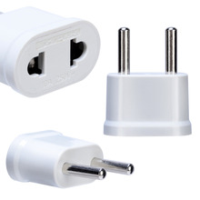 1pc US To EU Plug Power Adapter White Travel Converter Wall Charger