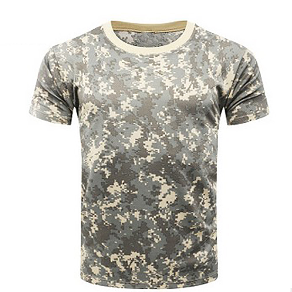 New Camouflage T-shirt Men Breathable Army Tactical Combat T-Shirt Military Dry Camo Camp Tees-ACU Green