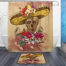 Day Of The Dead Vintage Flower Sugar Skull Waterproof Polyester Fabric  Shower Curtain Doormat Bath Floor