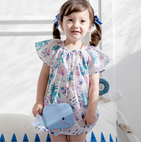 Cute Baby Girl Dress Coral Shell Printed Soft Breathable Cotton Infant Girl Summer Outfit