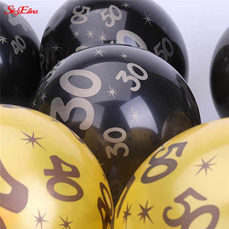 10 pcs 10 Polegada/12 Polegada Número 30 40 50 60 Balão Feliz Aniversário Aniversário Aniversário de Casamento Bola Impressão decoração do partido 5Z